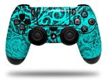 Vinyl Decal Skin Wrap compatible with Sony PlayStation 4 Dualshock Controller Folder Doodles Neon Teal (PS4 CONTROLLER NOT INCLUDED)