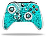 Skin Wrap for Microsoft XBOX One S / X Controller Folder Doodles Neon Teal