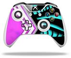 Skin Wrap for Microsoft XBOX One S / X Controller Black Waves Neon Teal Hot Pink