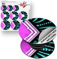 Decal Style Vinyl Skin Wrap 3 Pack for PopSockets Black Waves Neon Teal Hot Pink (POPSOCKET NOT INCLUDED)